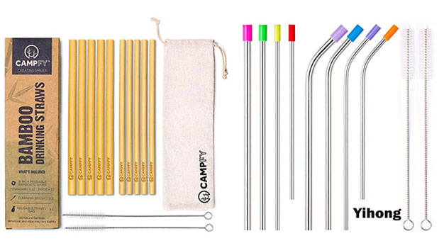 bamboo straws and stainless steel straws