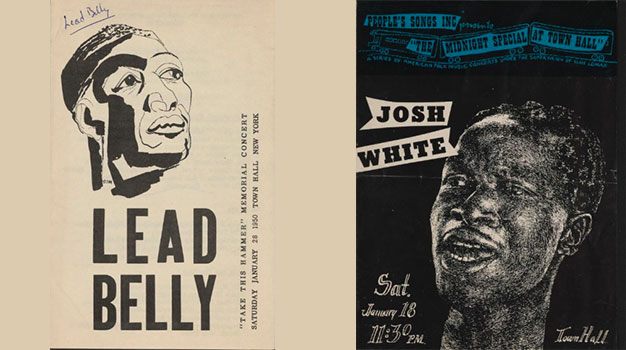 Lead Belly and Josh White playbills as collected by Alan Lomax, from the collection at the Library of Congress